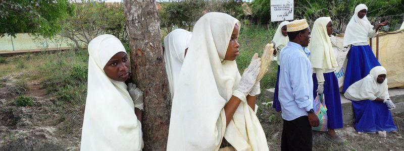 Schulklasse auf sansibar cleanup