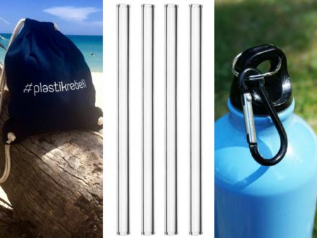 Weniger Plastik im Urlaub - mit diesem Ozeankind-Set aus Strohhalm, Beutel und Flasche